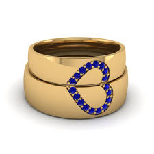 wedding bands for him and wedding band sets his and hers with blue sapphire in 14k yellow