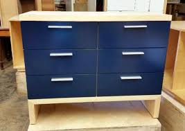 Modern Furniture Dressers by Custom Morgan 6 Dresser In Maple With Navy Blue Drawer Fronts