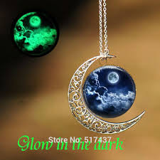 glow in the necklaces glowing pendant moon galaxy necklace glass picture pendant glow in