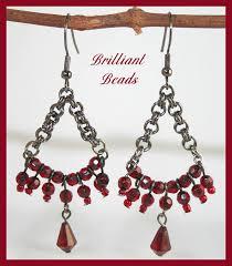 Gunmetal Chandelier Earrings Brilliant Beads Handmade Lampwork Glass Beads Beaded Jewelry By