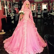 vestido de noiva rose red long sleeve muslim wedding dresses 2017