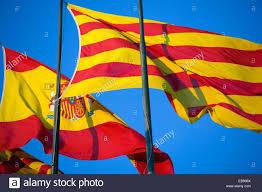Barcelona Spain Flag Spanish And Catalan Flags Barcelona Spain Stock Photo Royalty