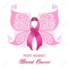 breast cancer awareness pink ribbon with butterfly wings vector