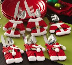 cute santa suit christmas silverware holder pockets dining table