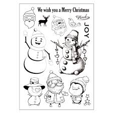 christmas cute snowmen rubber stamp for diy scrapbooking photo