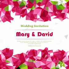 Wedding Invitation Card Template Pink Polygonal Wedding Invitation Card Template 123freevectors