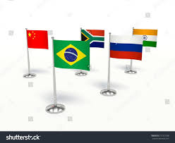 Country Flags Small Brics Economics Small Flags Countries 3d Stock Illustration