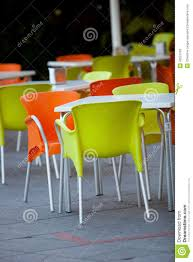 Green Outdoor Chairs Outdoor Furniture Of A Restaurant Or A Cafeteria Stock Photo