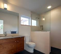 shower next to toilet bathroom eclectic with brown tiles frosted