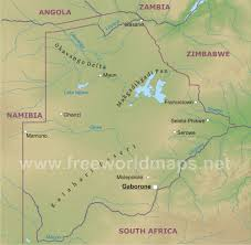 Africa Geographical Map by Botswana Physical Map