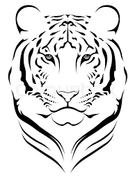 vector tiger executed in the form of a tribal tattoo stock