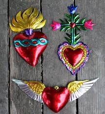 reserve for marti 2 flaming hearts mexicans ornament and