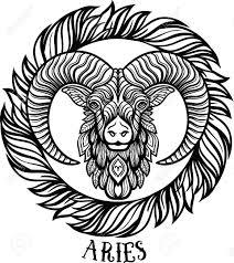 zodiac aries tribal decorative wool pattern boho chic vector