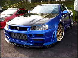 light blue nissan nissan skyline r34 yes with the blue color and golden rims this