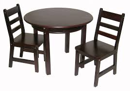table and 2 chairs set child s round table with shelf 2 chairs espresso finish lipper