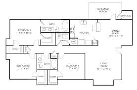 Traditional Floor Plan 3 Bed 2 Bath Apartment In Canton Ga Harbor Creek Milestone