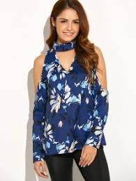 cold shoulder high collar blouse blue blouses s zaful