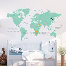 world map with animals kids wall decals world map with animals