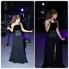 new black high split celebrity evening dresses 2016 nancy ajram