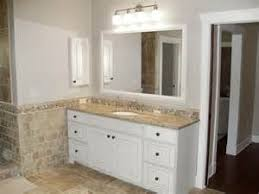 Furniture Style Vanity Traditional Gray Bathroom A White Furniture Style Vanity Is Topped