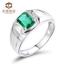 men ring gemstone men ring in 18k white gold emerald ring for men