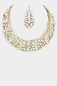 crystal choker necklace set images Glitz finery lined crystal rhinestone choker necklace set gold ab jpg