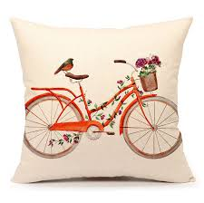 Orange Pillows For Sofa by Amazonsmile Watercolor Bird With Bicycle Vintage Home Decor