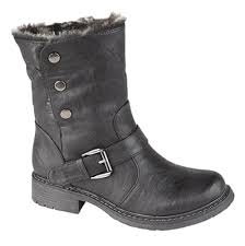 ladies motorbike boots ladies fold down leather look fur lined biker ankle boots black