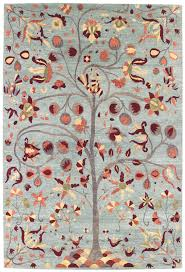 Modern Floral Rug Tree Of Birds Modern Floral Rug J41381
