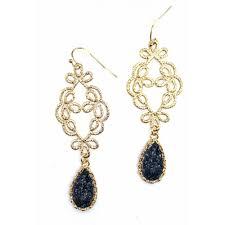 filigree earrings black teardrop druzy filigree handmade statement earrings
