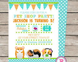 pet shop invitation etsy