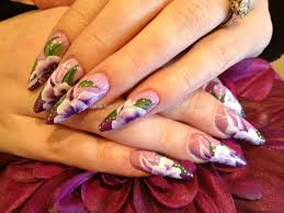 acrylic stiletto nails with purple one stroke nail art nails