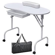 manicure table with built in led light amazon com foldable portable manicure table nail technician desk