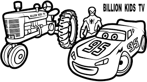 spiderman and lightning mcqueen with red tractor coloring pages