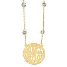 circle monogram necklace script monogram necklace