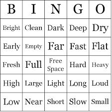 simple adjectives bingo cards