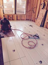tiny house update radiant floor heating install on the green