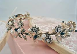 flower hair band handmade vintage gold leaf rhinestones flower hair band wedding