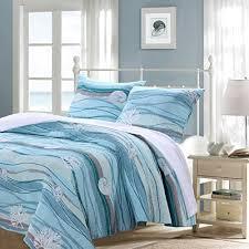 coastal theme bedding 3 blue nautical king quilt set white sand nature coastal