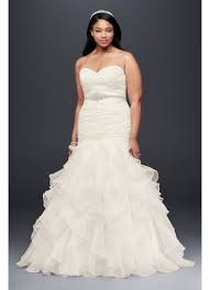 wedding dresses plus size ruffled organza plus size mermaid wedding dress david s bridal