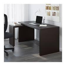 malm bureau avec tablette coulissante brun noir ikea