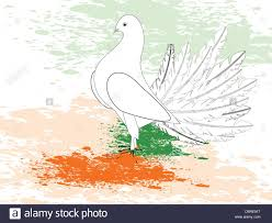 Stock Feather Flags A Republic Day Card With Draw A Flag With Paint Piegon And Spac
