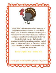thanksgiving turkey abc match cards capital lowercase or abc