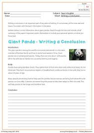 primaryleap co uk writing a conclusion giant panda worksheet