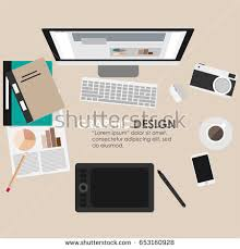 Flat Top Desk Desk Flat Design Top View Workspace Stock Vector 653160928