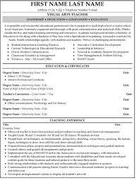 Teachers Resume Examples by Arts Teacher Resume Sample U0026 Template