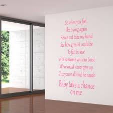 jls take a chance on me lyrics wall sticker world of wall stickers