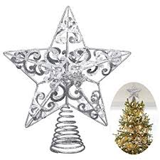 unomor tree topper silver glittered