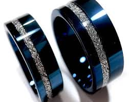 mens wedding rings tungsten blue tungsten ring etsy