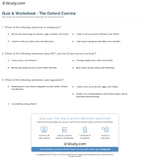 quiz u0026 worksheet the oxford comma study com